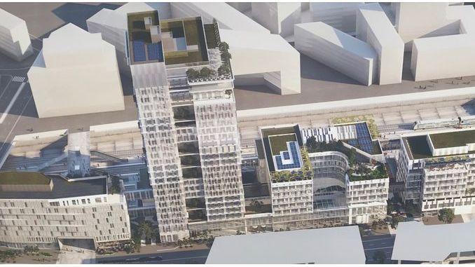 """Vue d'artiste de """"l'Archipel"""", futur siège social de Vinci à Nanterre, un ensemble de 74 000 m2. Photo : PG. Document : Vinci"""